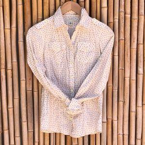 BANANA REPUBLIC Cream Floral Button-up Blouse PXS